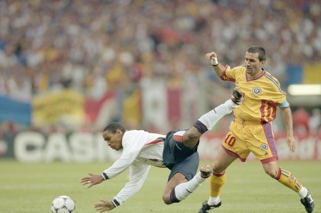 Former Romania captain Gheorghe Hagi (right). Likes feta, apparently.  \ Mandatory Credit: Ben Radford /Allsport
