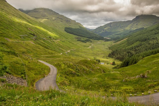 A view down a Scottish highland glen, Glen Croe, from the 'Rest and be Thankful view point', in Argyll, Scotland (Photo: Jozef Durok).