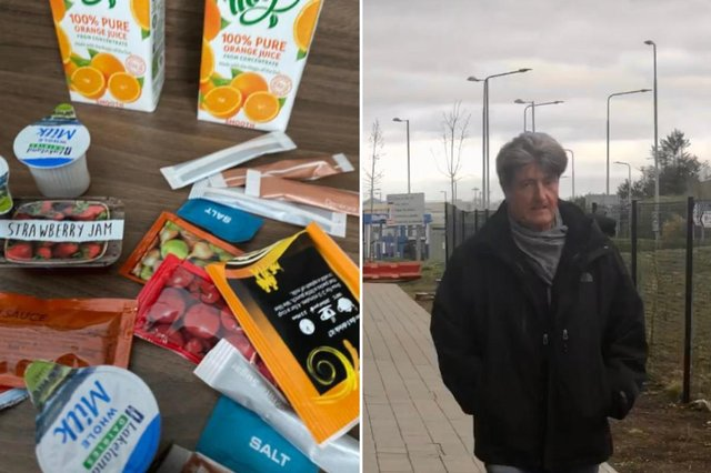 Gordon Percy and some of the supplies he has been given at the quarantine hotel picture: supplied