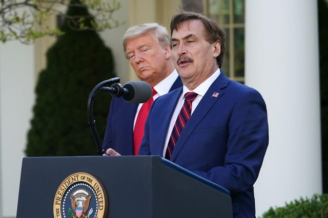 Mike Lindell speaks during a Covid-19 briefing at the White House last March in front of then US president Donald Trump. Picture: Mandel Ngan/AFP/Getty