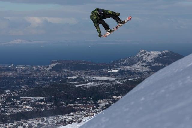 Ex-professional snowboarder Scott McMorris enjoying a jump off the Pentland Hills picture: Will Nangle