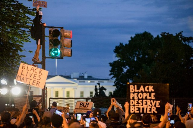 Black Lives Matter placards have been commonplace at protests across the United States in recent days (Getty Images)