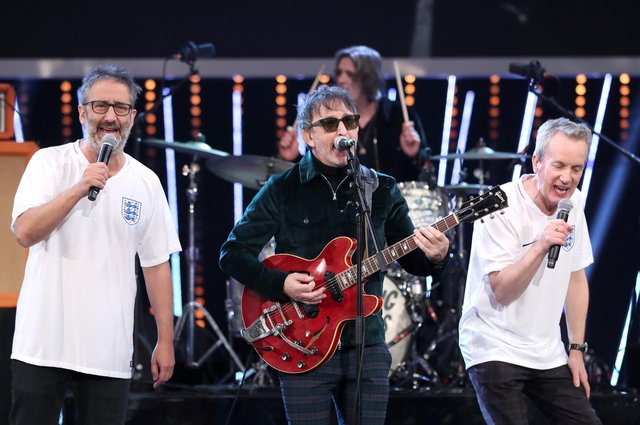 Ian Broudie (centre) of the Lightning Seeds performs the Three Lions song with David Baddiel (left) and Frank Skinner (Picture: David Davies/PA)