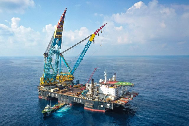 The Saipem S7000 semi-submersible crane vessel is due to start the installation of casings. Picture: Saipem